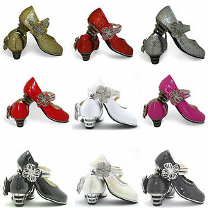 Girls-New-Kids-Glitter-Patent-Diamante-Detail-Wedge-Heel-Toddlers-Shoes-Size-8-2