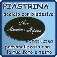 Piastrina Acciaio Cromato Ovale Personalizzato Con Fotoincisione -  - ebay.it