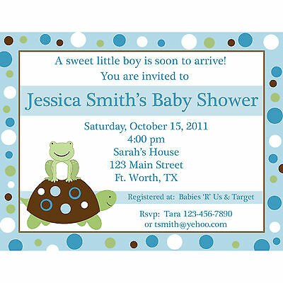 20 Personalized Baby Shower Invitations - Turtle And Frog - Blues