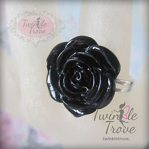 Carved Flower Rose Ring Retro Kitsch Vintage Cute Emo Adjustable Black & Others