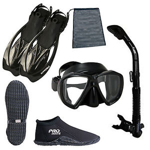 Ocean-Explorer-Snorkeling-Set-Boots-Mask-Fins-Snorkel-amp-Bag-Diving-Gear-BK-S13