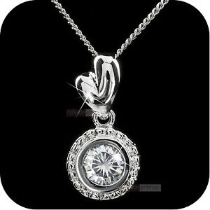 18k white gold genuine SWAROVSKI crystal round pendant wedding party necklace