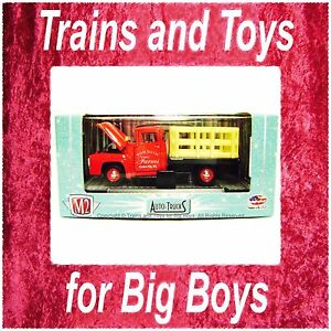 M2-Machines-1956-FORD-F-100-STAKE-TRUCK-RED-Auto-Trucks-S-Scale-1-64-Car-New-I