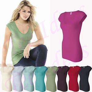 Bella ladies sheer rib long length cap sleeve v neck for Long length long sleeve t shirts
