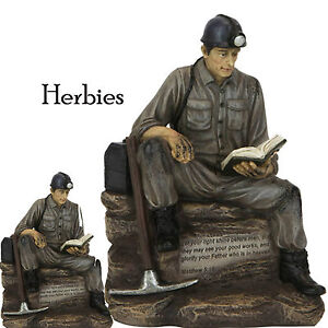 Classic Coal Miner Reading The Bible, Figurine Statue, New In Gift Box