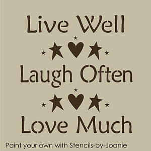 stencil live well laugh often love much heart stars prim country beach home sign. Black Bedroom Furniture Sets. Home Design Ideas