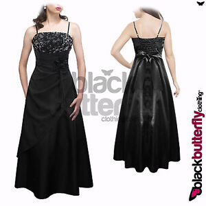 LONG SATIN EVENING WEDDING BRIDESMAID BALLGOWN PROM DRESS SIZE 8 -22 (BBD090)