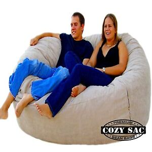 Bean Bag Chair Love Seat By Cozy Sac 6' Micro Suede Huge Large Sack