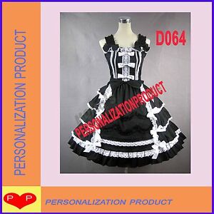 Victorian-Gothic-Lolita-lace-Ball-Gown-Cosplay-Knee-Length-Cotton-Dress