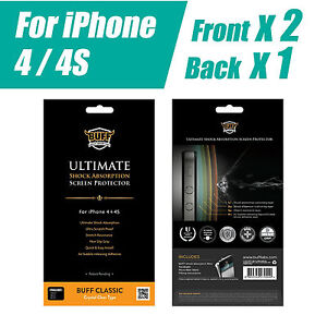 BUFF-ULTIMATE-SHOCK-ABSRPTION-SCREEN-PROTECTOR-FOR-iPhone-4-4S-2xFRONT-1XBACK