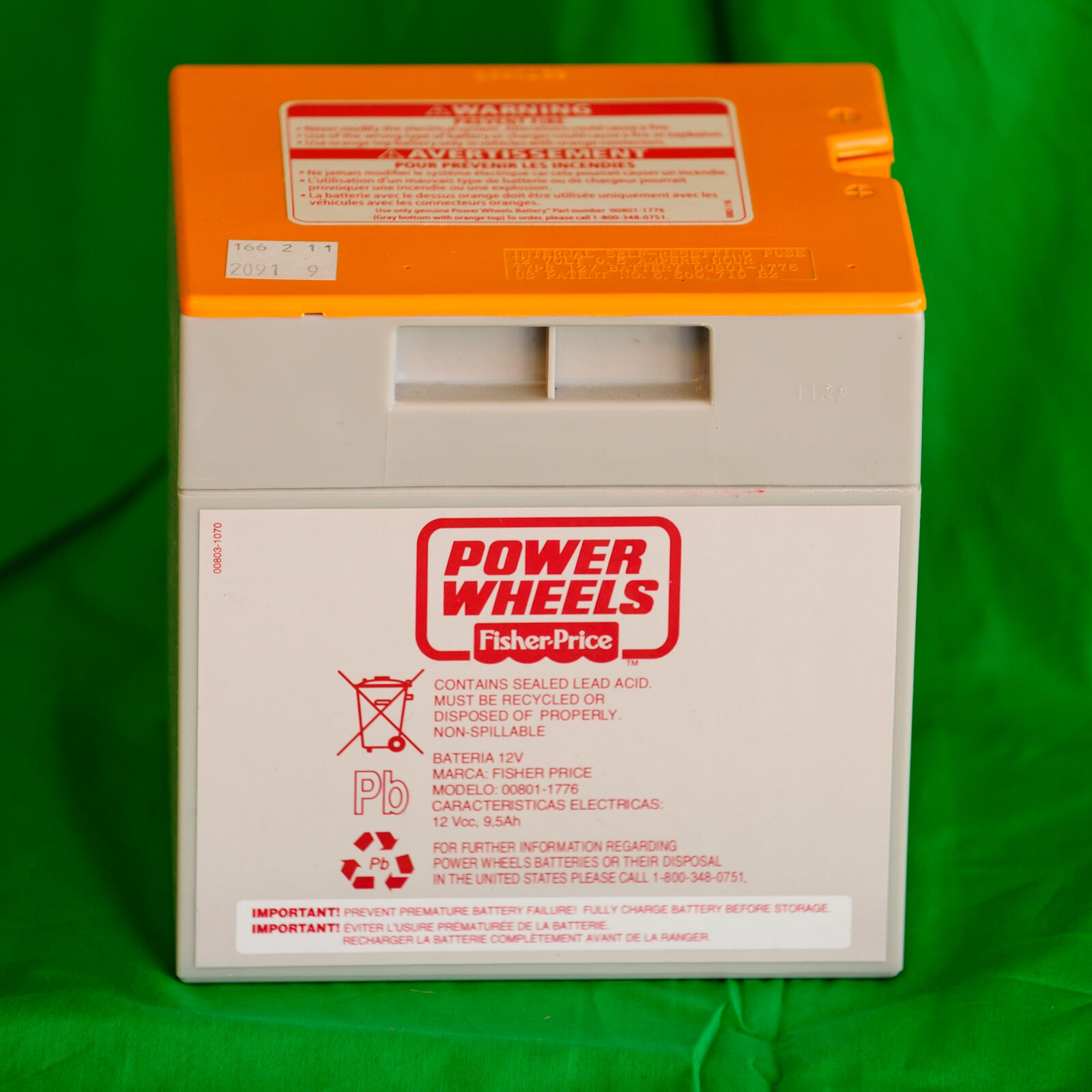 00801-1776 Battery 12 Volt Orange Top Genuine Power Wheels by Fisher Toys