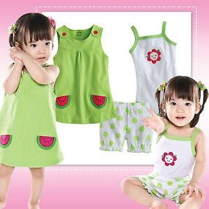 "... Baby Newborn Baby Gir's Dress Bodysuit Pants 3 Set ""Watermelonade"