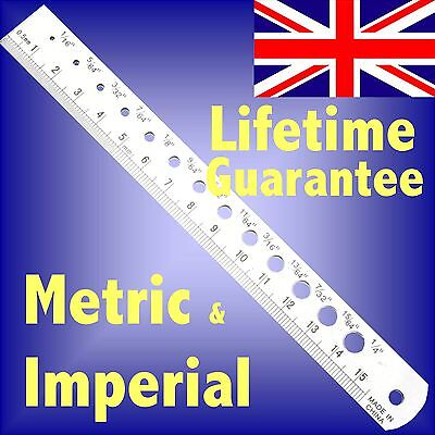 150mm 6 Stainless Steel pocket rule & drill size gauge guide metric & imperial