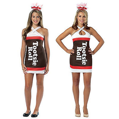 Adult Teen Candy Chocolate Treat Tootsie Roll Fancy Costume Teardrop Tank Dress - Adult Tootsie Roll Costume