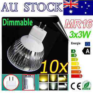 10x LED MR16 9W 3*3W 12V COOL White LED Light Dimmable Bulb Downlight SpotLight
