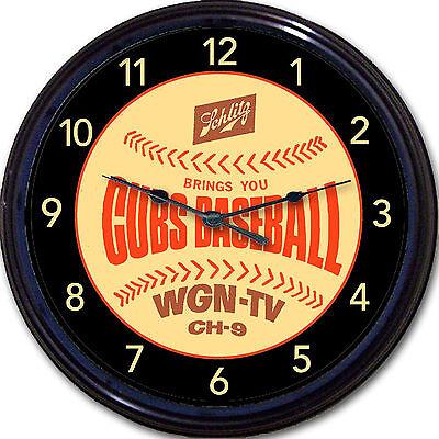 Chicago Cubs Wrigley Schlitz Beer Coaster Wall Clock Baseball Man Cave New 10