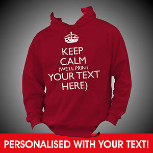 Personalised-KEEP-CALM-YOUR-CUSTOM-TEXT-Mothers-Day-Gift-Hoodie-Hoody-QUALITY