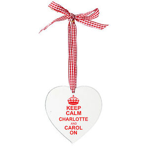Personalised-Christmas-Keep-Calm-Wooden-Heart-Xmas-Tree-Decoration-P101131