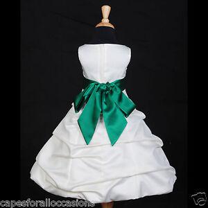 IVORY-GREEN-FLOWER-GIRL-DRESS-WEDDING-BRIDESMAID-2-4-4T-5-5T-6-6X-8-10-12-14-16