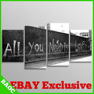 BANKSY Wall Art | All You Need Is Love | 4 Panel Canvas Pictures