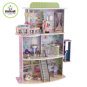 KidKraft 3-Floor Girls Doll Fashion Shopping Mall Spree Center Barbie House Wood