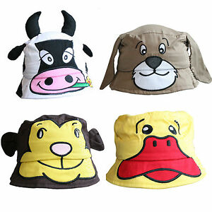 NEW-Childrens-Novelty-Animal-Cotton-Sun-Bush-Hat-Baby-Toddlers-Kids-Boys-Girls