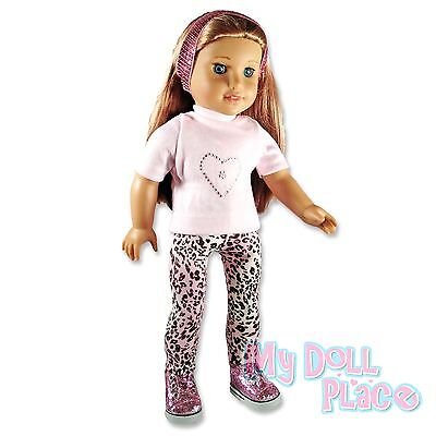 Doll clothes fit American Girl * Pink Leopard Outfit Leggings Top Glitter Shoes  on Rummage
