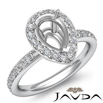 Diamond Engagement Ring Halo Setting 18k White Gold Pear Shape Semi Mount 0.55Ct
