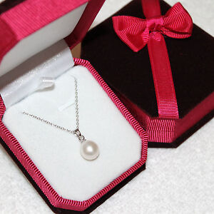 Genuine white Freshwater Pearl Pendant Necklace Silver Chain AAA & Jewelry Box