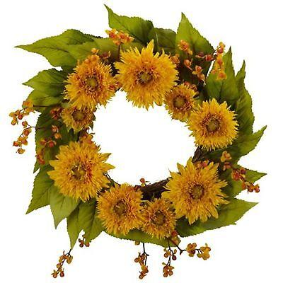 Decorative Natural Looking Artificial 22 Golden Sunflower Door Wreath Plants