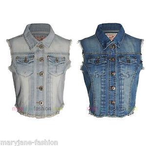 Damen-Weste-Jeans-Denim-Armellos-Gebleicht-Steingewaschen-Blau-36-38-40-42