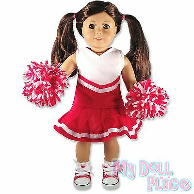 "Doll clothes fit 18"" American Girl * Red & White Cheerleader Outfit w/ Poms * on Rummage"