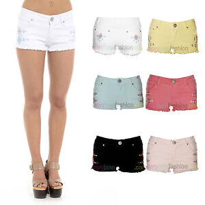 New-Ladies-Denim-Pastel-Coloured-Festival-Aztec-Hotpants-Shorts-UK-6-8-10-12-14