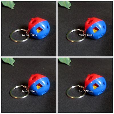 Tupperware New Set of 4 Shape O Ball Blue & Red Keychains MINI Miniature RARE