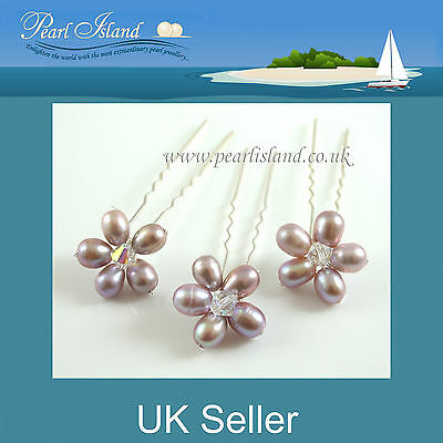 3 Handmade Freshwater Pearl Bridal Wedding Hair Pins, Lavender, Bridesmaid