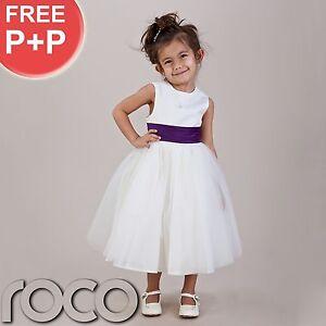 Girls-Ivory-Purple-Dress-Communion-Bridesmaid-Christening-Dresses-Age-6m-10yrs