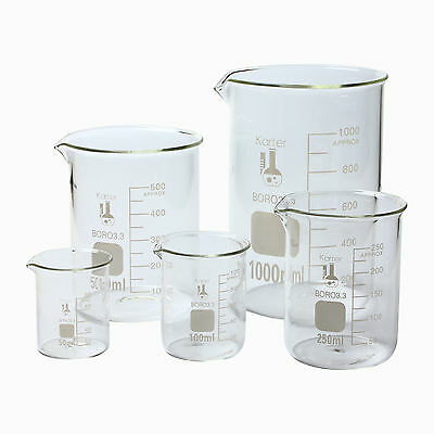 Glass Beaker 5 Piece Set 50, 100, 250, 500, & 1000ml on Rummage