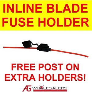 WATERPROOF INLINE BLADE FUSE HOLDER SUIT STANDARD WEDGE BLADE FUSE TO 40 AMP