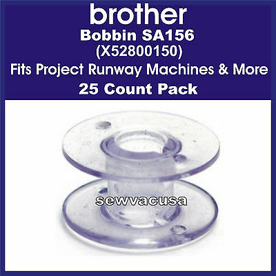 Brother SA156 25 Pack Bobbins, X52800150, Fits Project Runway Machines & More