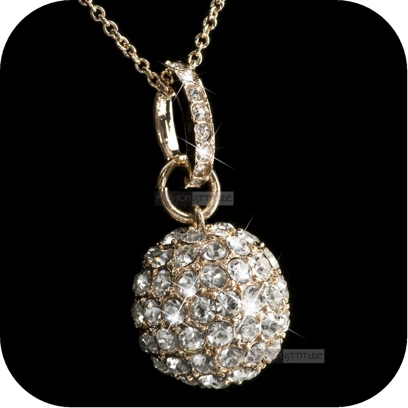 9649cf4257 18k rose gold gp made with SWAROVSKI crystal ball pendant fashion necklace