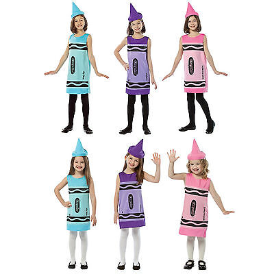 Child Girls Artist Art Crayola Crayons Color Purple Pink Blue Cute Dress - Artist Costume