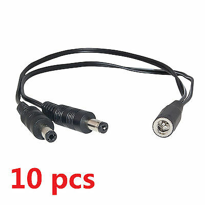 10 pcs DC 1 to 2 Power Splitter Cable Cord For CCTV Camera, 1 Female to 2 Male