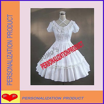 Victorian Gothic Lolita Ball Gown bow Lace White Dress