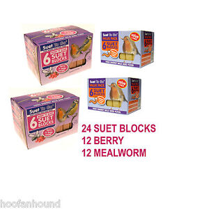 24 SUET BLOCKS FOR WILD BIRD FEEDING - 12 BERRY + 12 MEALWORM