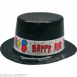 6 Mini Happy New Year Small Black Plastic Party Hats