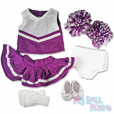"Doll clothes fit 18"" American Girl * Purple Cheerleader Set +Sneakers +Socks Lot on Rummage"