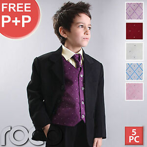 BOYS-5PC-WAISTCOAT-WEDDING-PAGEBOY-PROM-OUTFITS-SUIT
