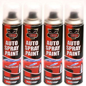 4 x clear lacquer aerosol spray cans 300ml cars vans auto. Black Bedroom Furniture Sets. Home Design Ideas