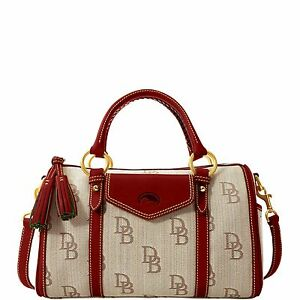 Dooney-Bourke-Signature-Jacquard-Barrel-Pocket-Satchel-Brown-Red