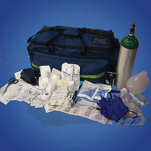 EMT FIRST RESPONDER STOCKED TRAUMA MEDICAL BAG KIT w/ OXYGEN CYLINDER SUPPLIES 8